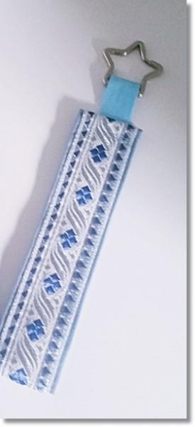 """Schlüsselanhänger Borte """"Silber / Blau"""" mit Sternring"""