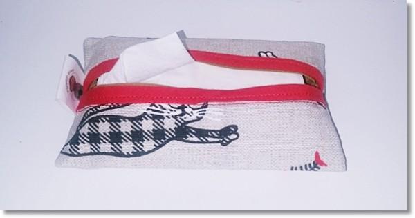 Taschentüchertasche in Katzenmotive mit Rot