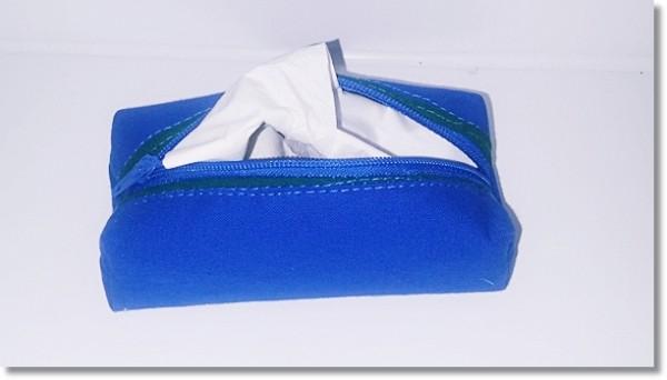 Taschentüchertasche in Blau / Grün mit Reißverschluss