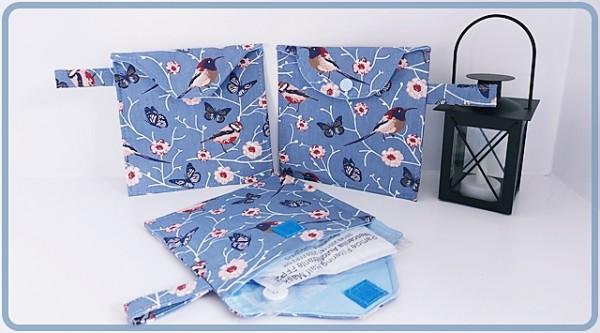 FFP Maskentasche in Graublau mit Vögeln und Blümchen