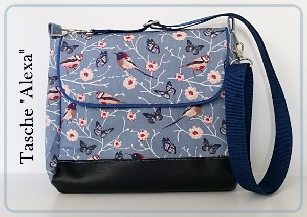Tasche Alexa mit schwarzem Kunstleder und Vögel / Blumendesign
