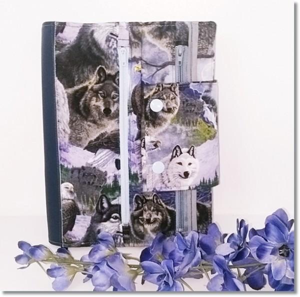 Kalenderhülle Wölfe mit Unistoff Hellgrau