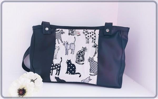 Shopper schwarz mit Katzendesign und Trennwand