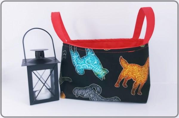 Henkelutensilo bunte Hunde mit rotem Innenfutter