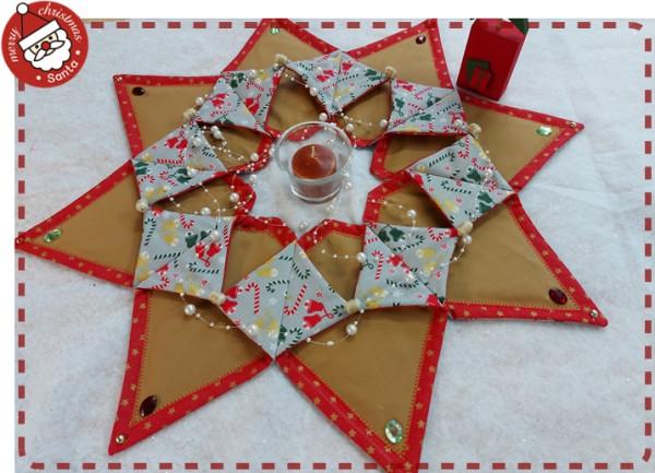 Großer weihnachtlicher Tischkranz in Rot / Braun / Gold