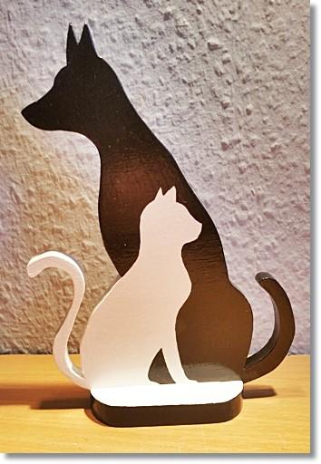 Hund & Katze Silhouette Schwarz / Weiß