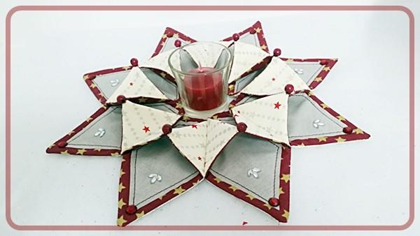Sternenkranz Grau / Rot mit kleinen Sternchen