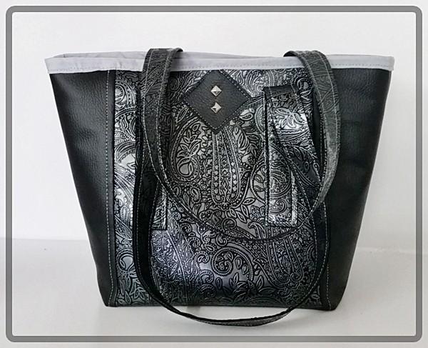Handtasche Kunstleder mit Intarsienmuster und hellgrauem Innenfutter