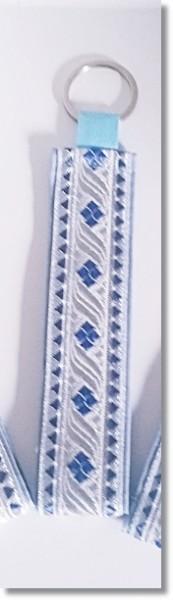 """Schlüsselanhänger Borte """"Silber / Blau"""" mit runden Anhänger"""