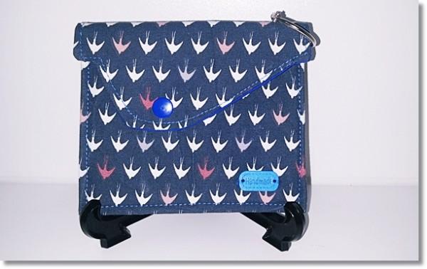 Multitäschchen Blau mit kleinen Vögel
