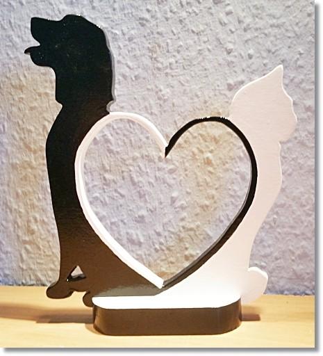 Silhouetten Hund & Katze in Schwarz / Weiß mit Herz