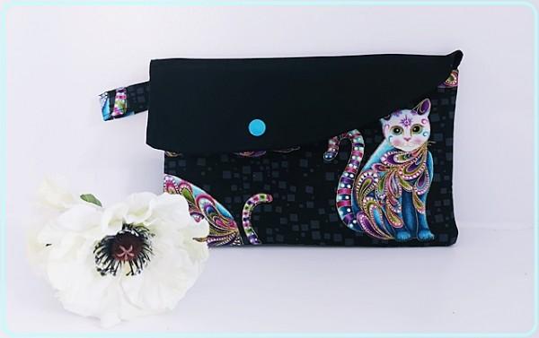 Maskentasche Länglich, schwarz/ bunte Katzen
