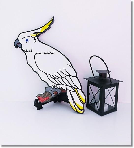 """Handmade Holzfigur"""" Weißer Kakadu"""" beidseitig bemalt"""